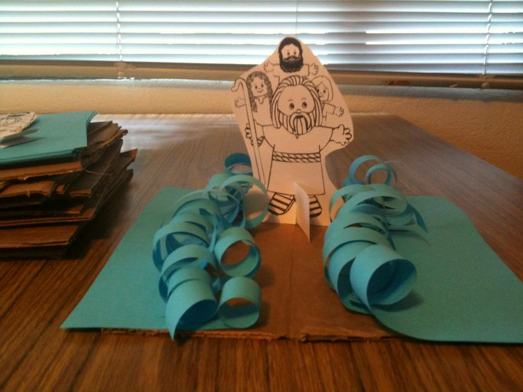 """Moses parting the Red Sea! Scripture: """"Raise your staff and stretch out your hand over the sea to divide the water so that the Israelites can go through the sea on dry ground."""" Exodus 14:16. (Needed: Moses template, blue paper, brown paper, glue, scissors, pencils to curl blue paper.)"""