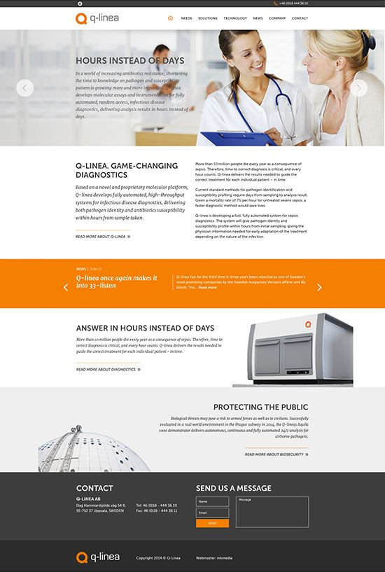 web design for Q-linea - made by mkmedia - gothenburg Sweden. mkmedia.se