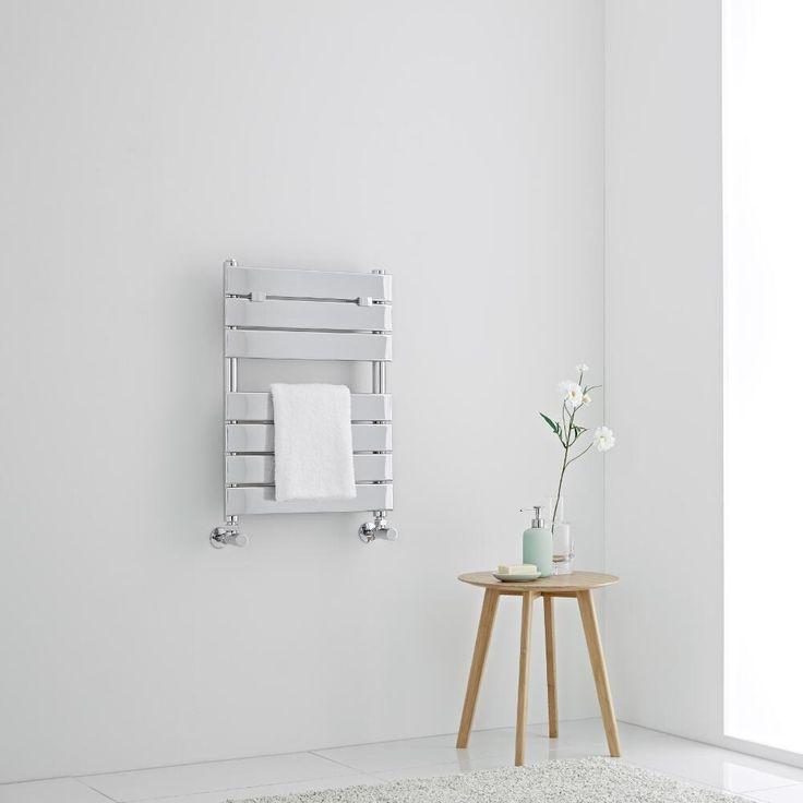 Lustro - Designer Chrome Flat Panel Heated Towel Rail - 620mm x 455mm - Image 1