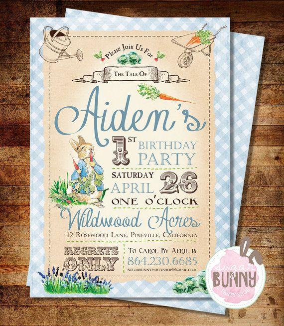 Printable Peter Rabbit 1st Birthday Or Baby Shower Invitation