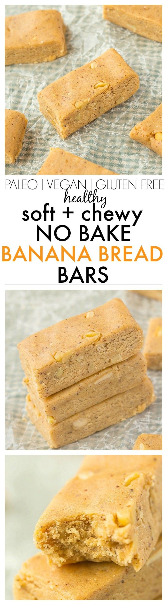 No Bake Banana Bread Protein Bars which have the taste and texture of a classic banana bread MINUS the nasties- Secretly healthy! {vegan, gluten free, paleo recipe}