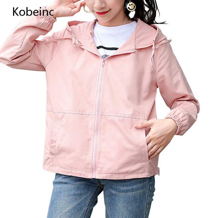 Kobeinc Women Hooded Coat Loose Full Sleeve Casaco Zipper Abrigos Cool Baseball Short Jackets Plus Size M-XXL Jaqueta Feminina