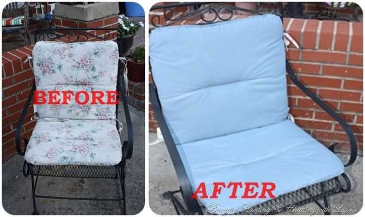 Chalk paint on patio chair cushions #gettingcreativeathome