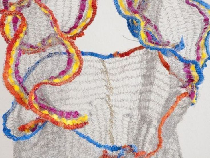 Naomi Wanjiku, Folklorico III, 2010, Stainless steel wire and fabric, 94 x 76 x 61,  Photo Lee Bennack. Image Courtesy the artist