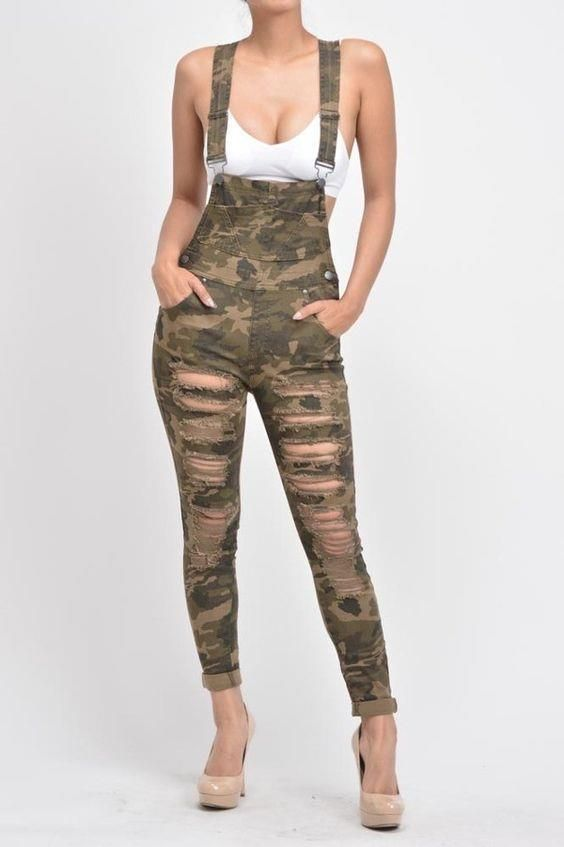 Women Camo Camouflage Ripped Destroyed Frayed Skinny Pant 214 mv Overalls S M L | eBay
