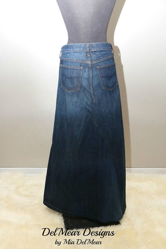 This listing is for a custom made long denim skirt. All skirts are crafted and customized from used and up cycled jean pants. I can shorten the hem to the need length if you send your measurements. ------------------- Features: ------------------ Maxi hem frayed or machine hemline