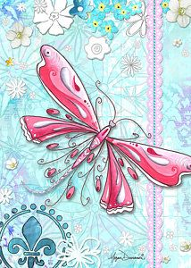Inspirational Dragonfly Floral Fleur De Lis Art Sweet Charity By Megan Duncanson Art Print by Megan Duncanson