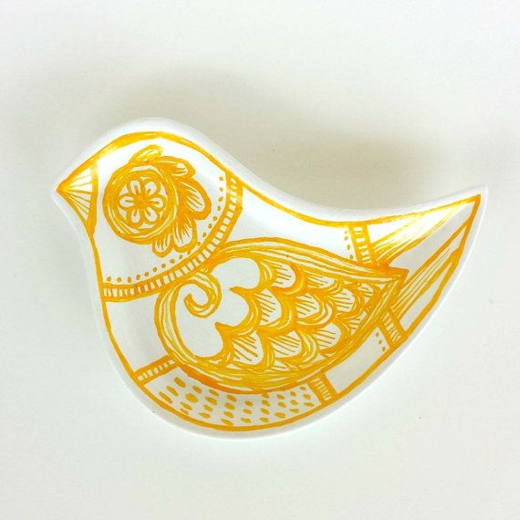 Ceramic Bird Dish Yellow and White Modern Polish Folk Art Painted Plate Spring Home Decor Ring Dish