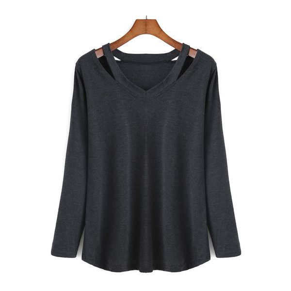 SheIn(sheinside) V Neck Long Sleeve Hollow Black T-shirt (£6.60) ❤ liked on Polyvore featuring tops, t-shirts, black, long sleeve v neck tee, long sleeve t shirt, long sleeve cotton tees, black tee and v neck t shirts