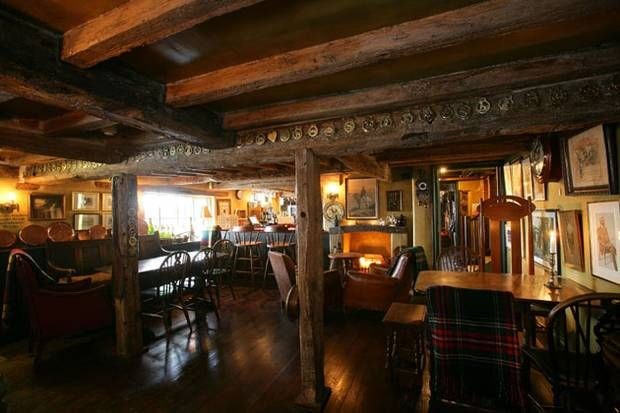 ~ The Anchor Inn ~ Lower Froyle ~ Hampshire ~ menu includes game, mushroom and lentil terrine, braised ox cheek, and vanilla rice pudding with doughnuts and jam ~
