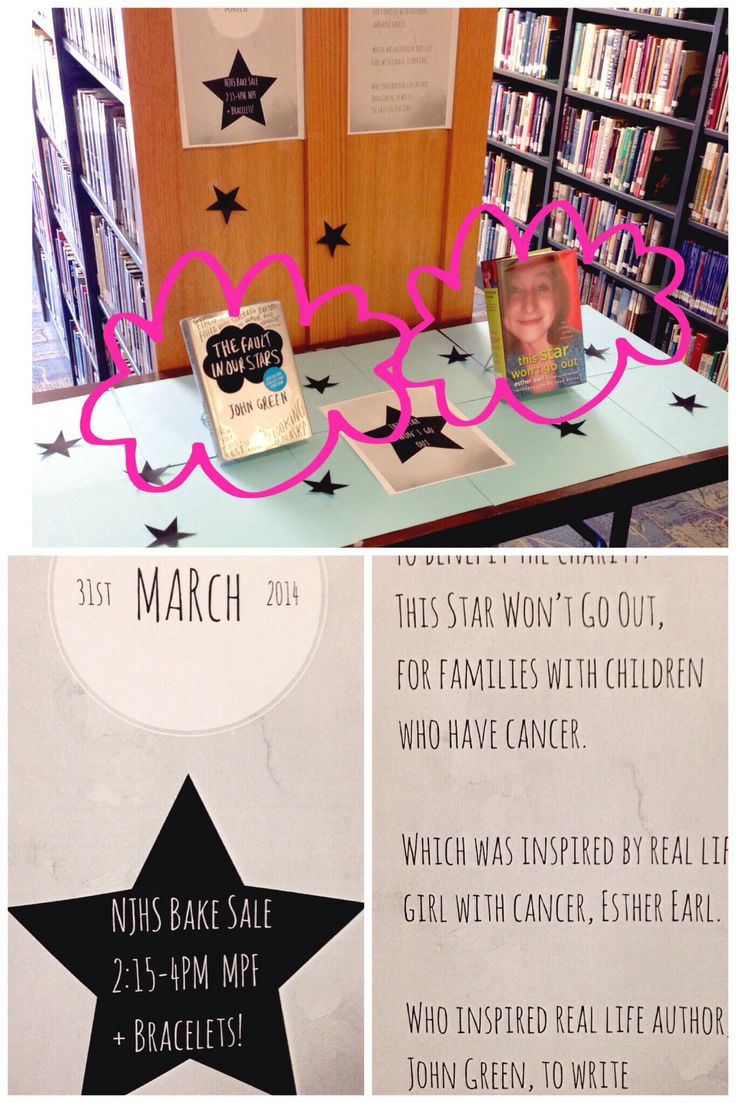 March 31st NJHS Bake Sale to benefit This Star Won't Go Out Foundation - inspired by Esther Earl, friend of author John Green and inspiration behind his, Fault In Our Stars. #johngreen #thisstarwontgoout