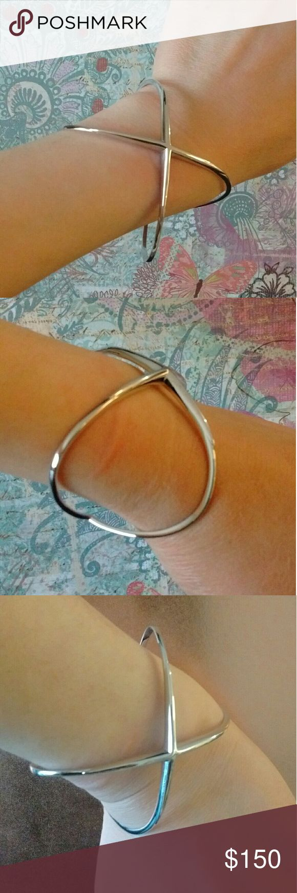 """Elizabeth and James Windrose Cuff Crisscross style. No closure. 1.5"""" width. Sterling silver plated. Elizabeth and James Jewelry Bracelets"""