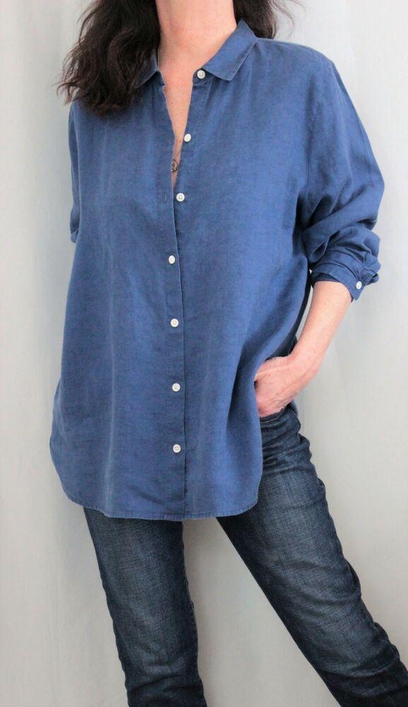 c6a208414 J Jill Love Linen 100% Linen L Sleeve Button Down Shirt Indigo Blue Sz L # JJill #ButtonDownShirt