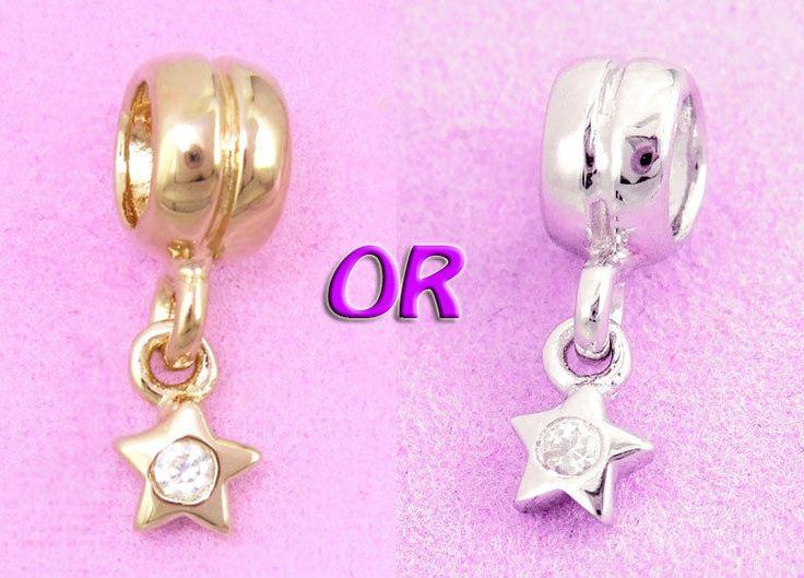 Sterling Silver Cz Wishing STAR Charm Bead / Pendant Fit Bracelet / Chain AUST