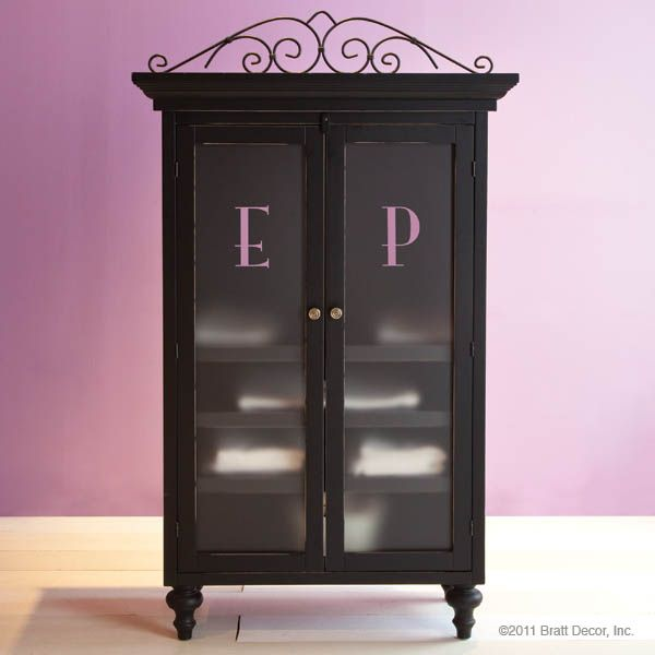bratt decor monogrammed armoire in black