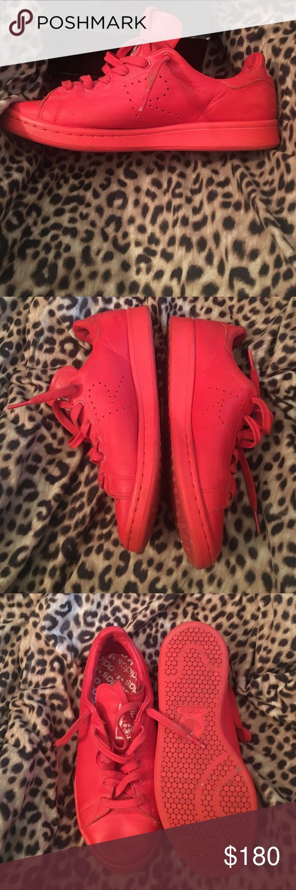 All red Raf Simmons All red adidas Raf Simmons. Has some wear to it but nothing a rag a water won't fix. Still in great condition. Raf Simons Shoes Sneakers