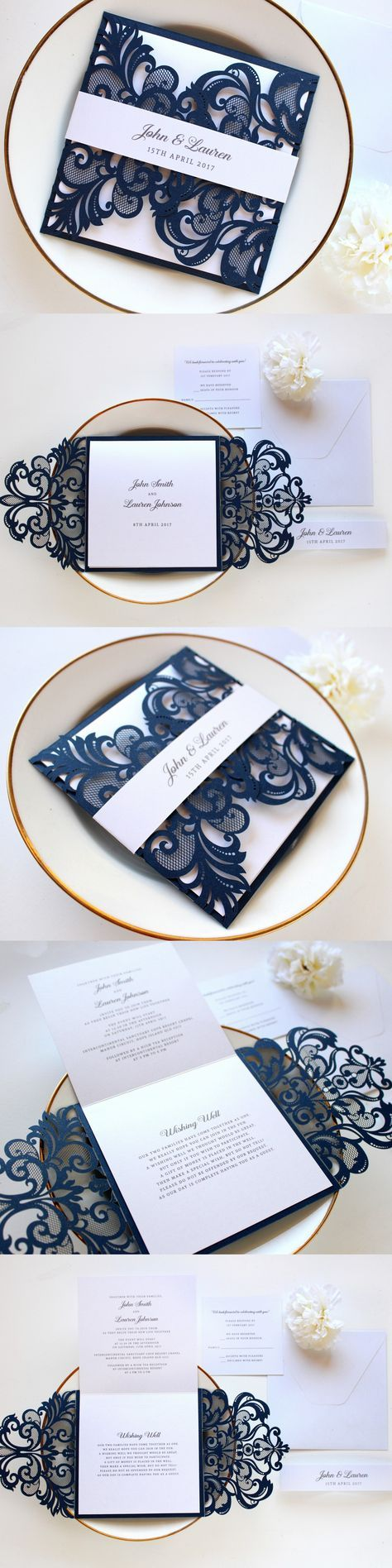 sample wedding invitation letter for uk visa%0A Navy and white laser cut wedding invitation by Paper Bound Love on Etsy