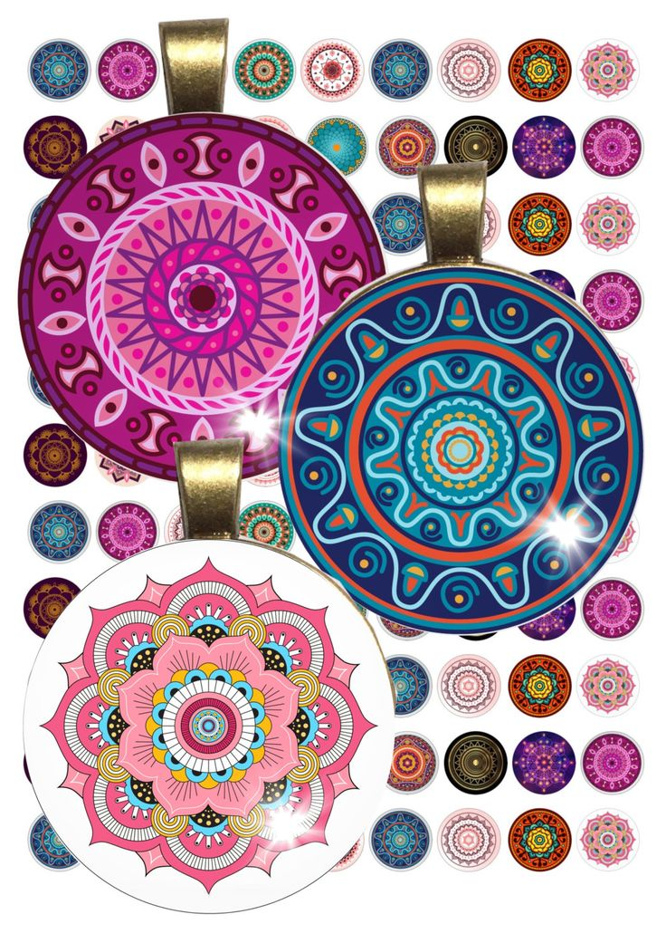 Colorful Mandalas Collage Sheet /you will get it in 3 sizes/ circle Pendant Printable Download jewelry making by TheLabelBoutique on Etsy