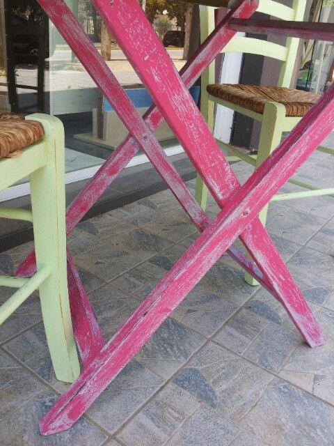 Handmade painted, table and chairs.