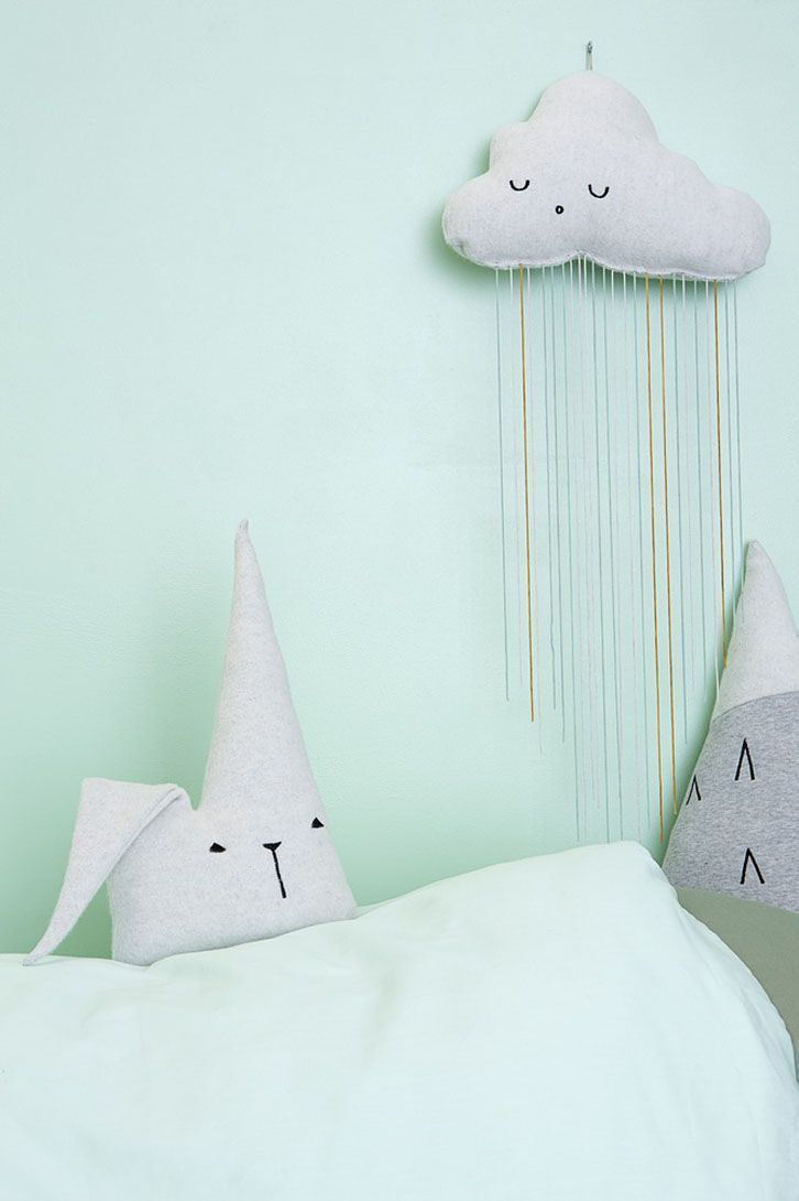 """Fabelab -Duvet Covers for Kids and Much More - Petit & Small """"This time they have got inspiration from those little dreamers who are really curious and adventurous so kids' textiles talk about other worlds, pirates and daring characters who discover new lands in their trips. This collection is plenty of details and sometimes we don't know if they are there to play or to decorate! Look at those rabbit-shaped fabric bags, mountain-shaped cushions, cloud-shaped crib mobiles and apple garlands!"""""""