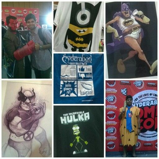 The amazing things that you find at a comiccon. I was at the Hyderabad Comic Con the other day and came across a badass wolverine and batman, hindi pun on The Incredible Hulk and so much more! Then there was cos play too the best of which were Flintstone and Hell Boy!