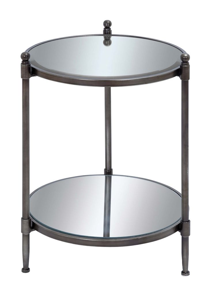 This Petite Mirrored Accent Table Has A Lustrous Iron Frame With A Charcoal  Finish. Part 62