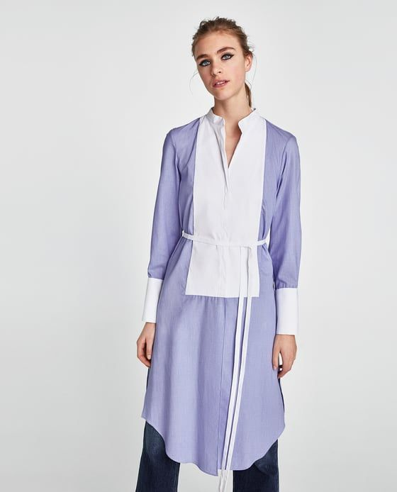 9ff97958 CONTRAST TUNIC from Zara #zara #newarrivals #fashion #spring #2018  #editorial #trending #popular #tunic #contrast #blue #white #collar  #tietheknot
