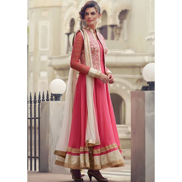 Adorable Baby Pink color Georgette Embroidered Party wear Suit at just Rs.1970…