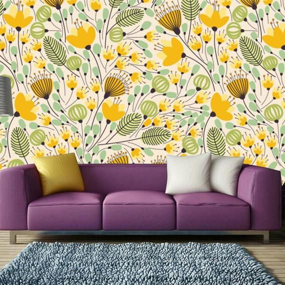 Printmyspace Abstract Yellow Green Floral Leaf Tropical Etsy In 2021 Textured Walls Tropical Wallpaper Wallpaper
