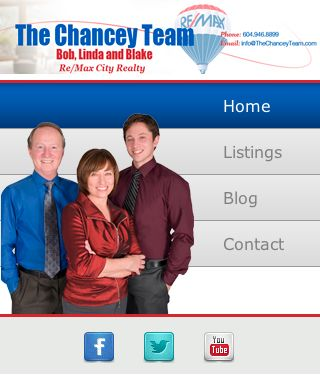 Custom Real Estate mobile website for The Chancey Team