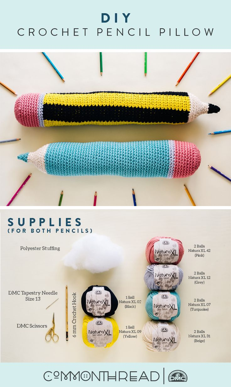 """""""A #2 pencil and dream can take you anywhere."""" - Joyce Meyer   Check out this easy tutorial, and download our free crochet pattern on the blog, stitched up using DMC Natura XL."""