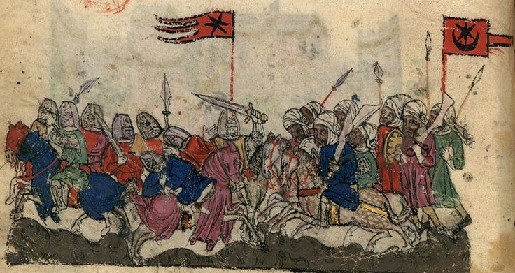 Illustration of the Battle of Yarmouk (636) at the bottom of the page of BNF Nouvelle acquisition française 886 fol. 9v (early 14th century). The Saracens are shown with a star and crescent banner, the Byzantines (anachronistically in Crusader era armour) with a star banner. Note that the banner designs are not attributed to factions with any consistency by this illustrator: The star and crescent is also shown as carried by the Mongols in foll. 22r, 32v, 34r, 35v). For a later (mid…