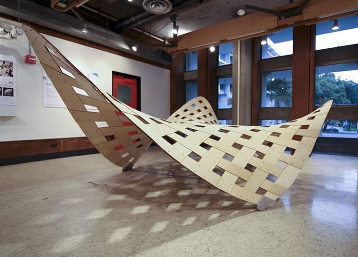 """""""Weave 1"""" Installation at Out of Plane Exhibition at UC Berkeley. Design, Engineering, and Scientific Development: Riccardo La Magna and Simon Schleicher. Fabrication and Assembly: Sean Ostro and Andrei Nejur"""