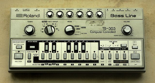 Roland TB-303 Bass Line. My sister had this, I used to make it play Joy Division along with the TR-606 Drumatix.