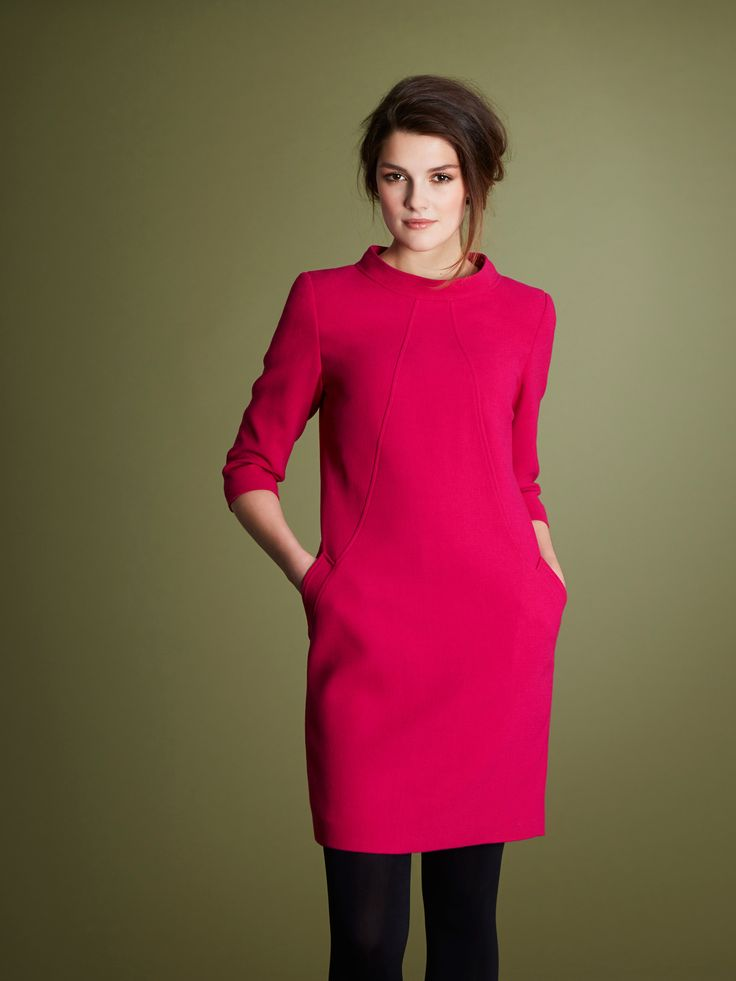 Pink dress with cut-off sleeves, side pockets and rounded high-neck by Paul Costelloe Living Studio