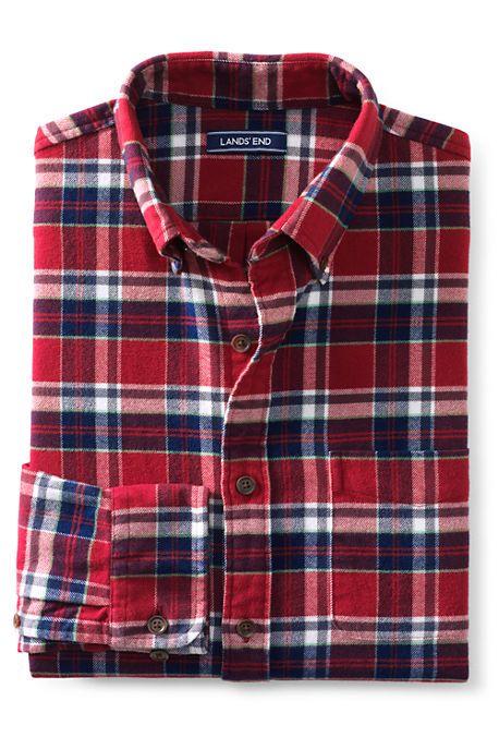 Lands  End Men s Traditional Fit Long Sleeve Pattern Flagship Flannel Shirt  -