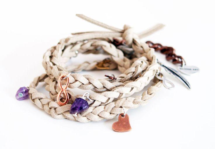 Greyge wraparound bracelet in deerskin leather with charms  #wraparound #bracelet #leather #jewelry #handmade #wrap #mensfashionblogger #stone #Stackable #hippie