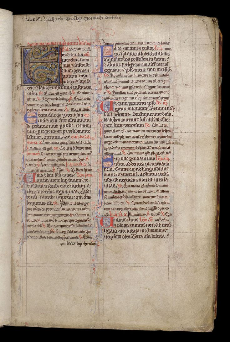 (MS Harley 4664) Text lines or lines for writing are the horizontal lines within the text area intended to guide the main writing. The lines for writing that are outside the text area receive the name of independent marginal ruling. Copyright belonging to British Library W6: The hierarchical structure of the different initials in a manuscript can be seen here, ranking from the floriate initial, to the inhabited initials, and the rubricated paragraph initials.