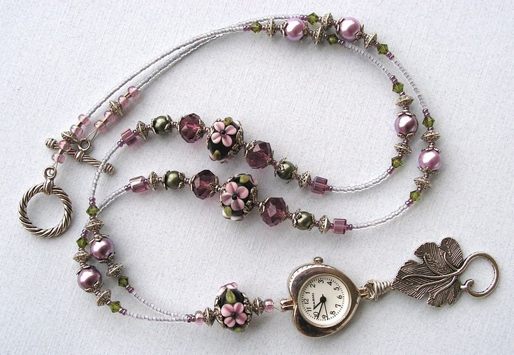 Beaded Lanyard ID Badge Holder Watch Lanyard Flower Garden Lariat