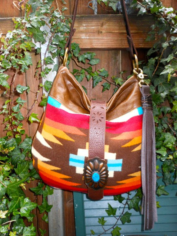 Native American Style Bag Leather  Purse  Made by StarryGarden, $190.00