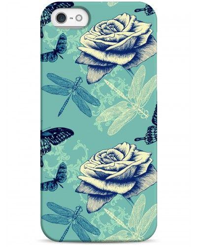 Чехол с розами с стрекозами - iPhone 5 / 5S / 5C Дизайнерские чехлы для iPhone #чехлы для iPhone #Sahar cases