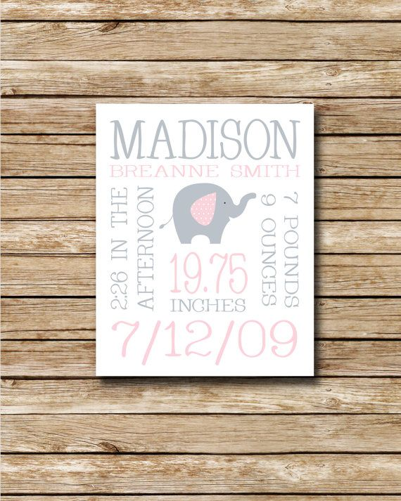 Custom Birth Print  Pink and Grey Elephant  by swtlittlehodgepodge, $10.00