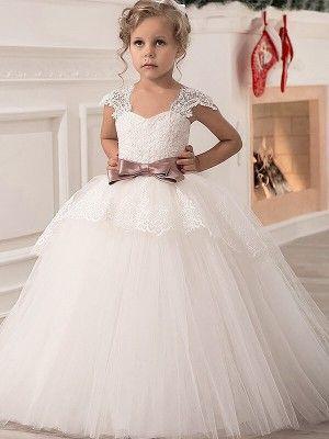 c9c2a781c93 Ball Gown Straps Sleeveless Sash Ribbon Belt Tulle Floor-Length Flower Girl  Dresses