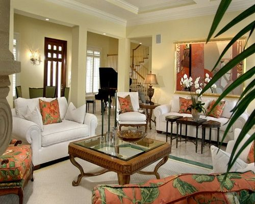Contemporary Tropical Living Room Design with Cozy White Sofa and Floral  Print Cushions16 best Tropical decor images on Pinterest   Dining room  Tropical  . Tropical Living Room Design. Home Design Ideas