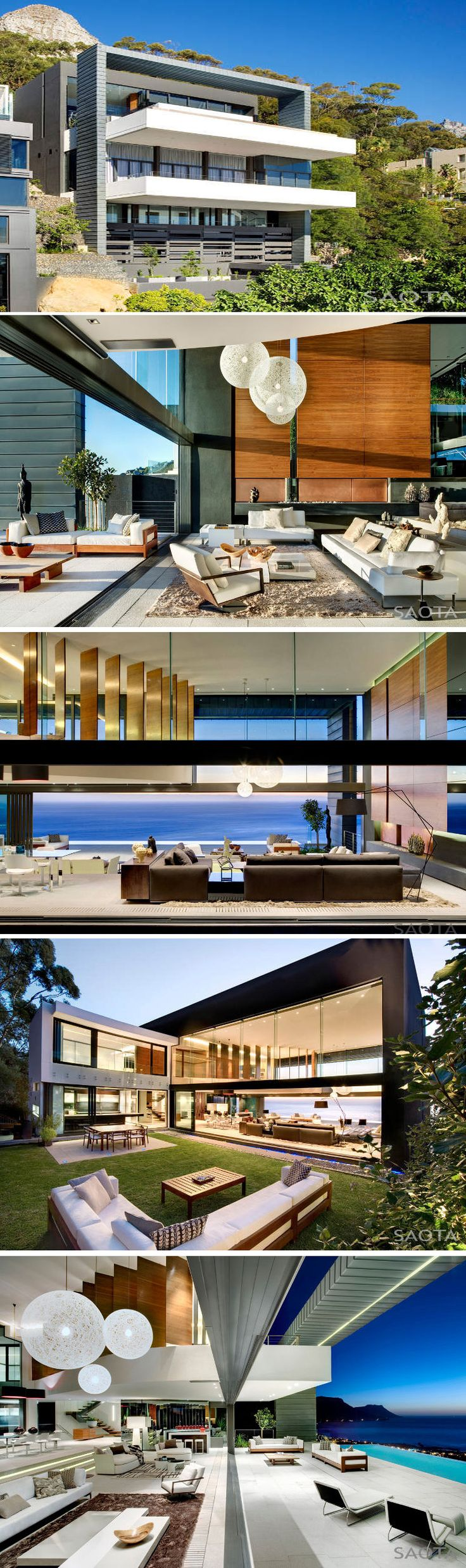 An amazing multi level house perched on the side of Lion's Head in Cape Town, South Africa. By SAOTA - Stefan Antoni Olmesdahl Truen Architects and interior design by OKHA Interiors.