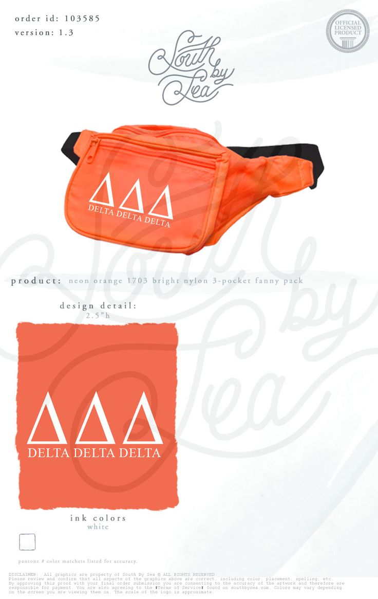 Delta Delta Delta | Tri Delta | Fanny Pack | Sorority Accessories | South by Sea | Greek Tee Shirts | Greek Tank Tops | Custom Apparel Design | Custom Greek Apparel | Sorority Tee Shirts | Sorority Tanks | Sorority Shirt Designs