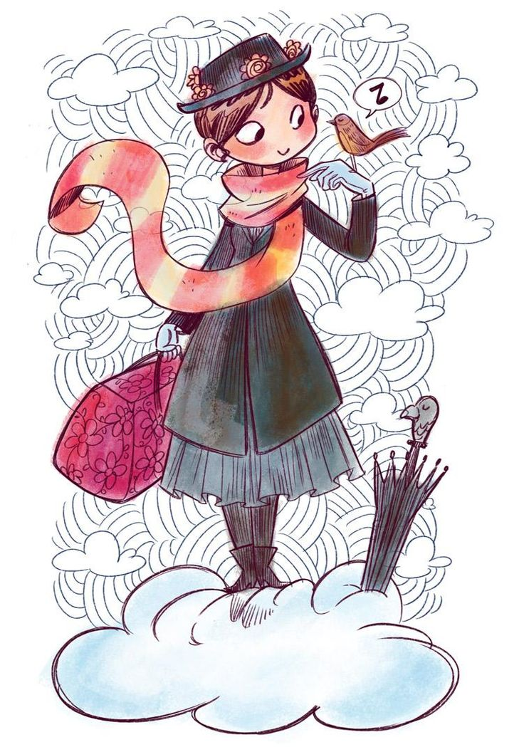 Mary Poppins by Claudia aka florealpolla for #SketchDailies. September 23, 2014   via Twitter #MaryPoppins