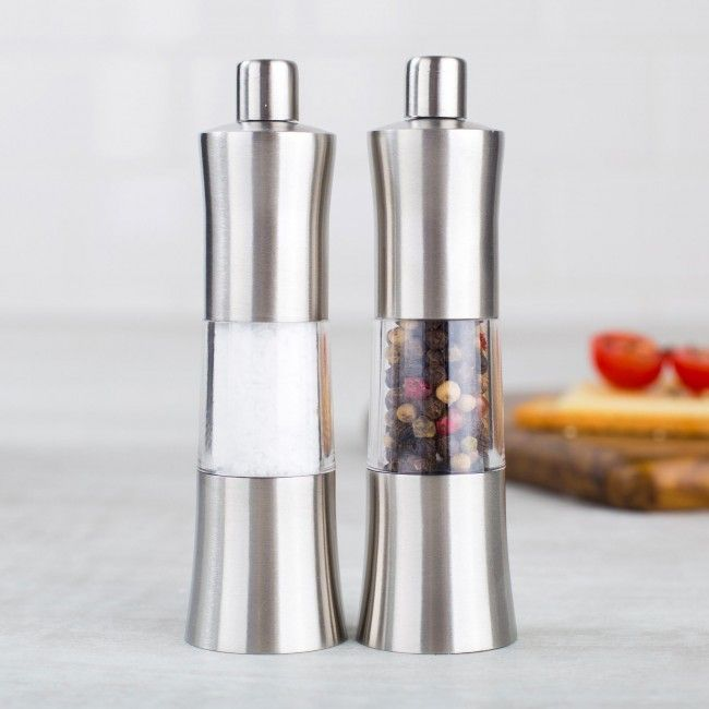 Season all of your meals using our Moto mini salt and pepper mill set. Made from stainless steel, they have a sleek brushed finish that will look great on any tabletop. Compact yet strong, these mills feature a ceramic grinder that can create fine or coarse grindings for salt or pepper. Easy to use, all you have to do is twist to grind sea salt or peppercorns.