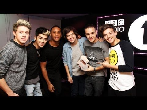 One Direction on the Official Chart with Reggie Yates on Radio 1. It's so cute when they find out they're number one!