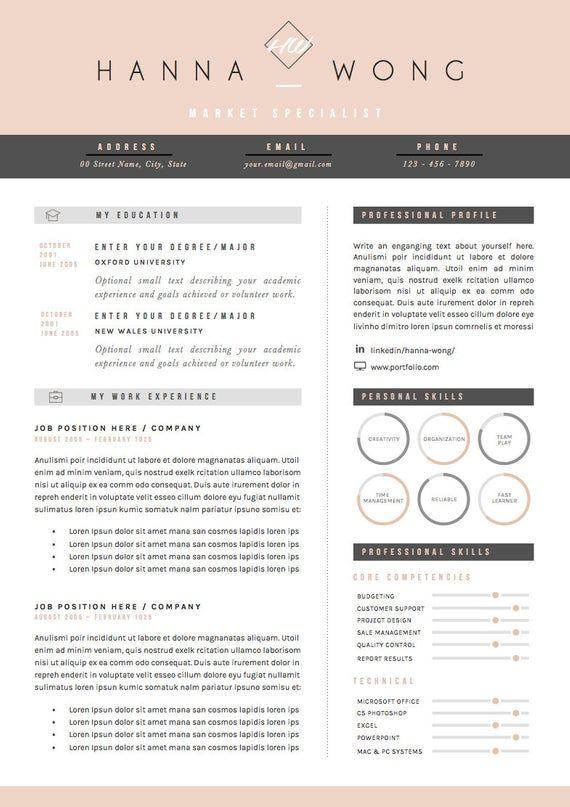 Riprendi Modello Modello Cv Lettera Di Presentazione E Etsy Cv Template Resume Template How To Memorize Things